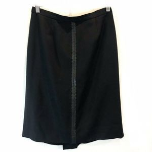 Doncaster Black Straight 100% Wool Lined Skirt 8
